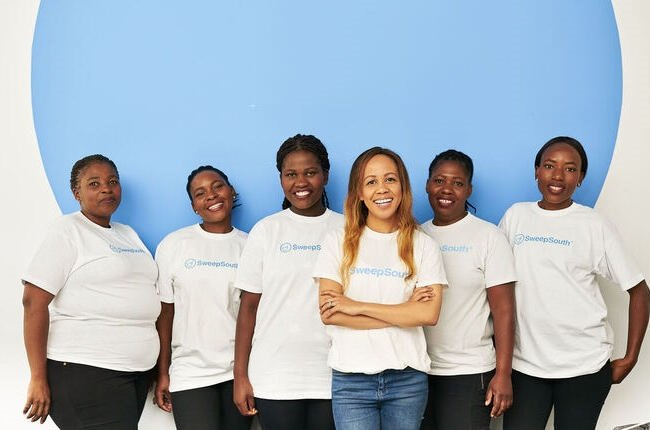Aisha Pandor (third from right) and her team from SweepSouth.