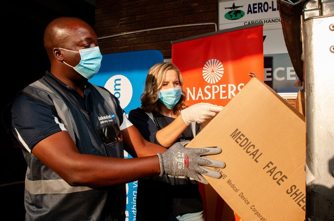 The first shipment of personal protective equipment for healthcare workers in South Africa gets unloaded.