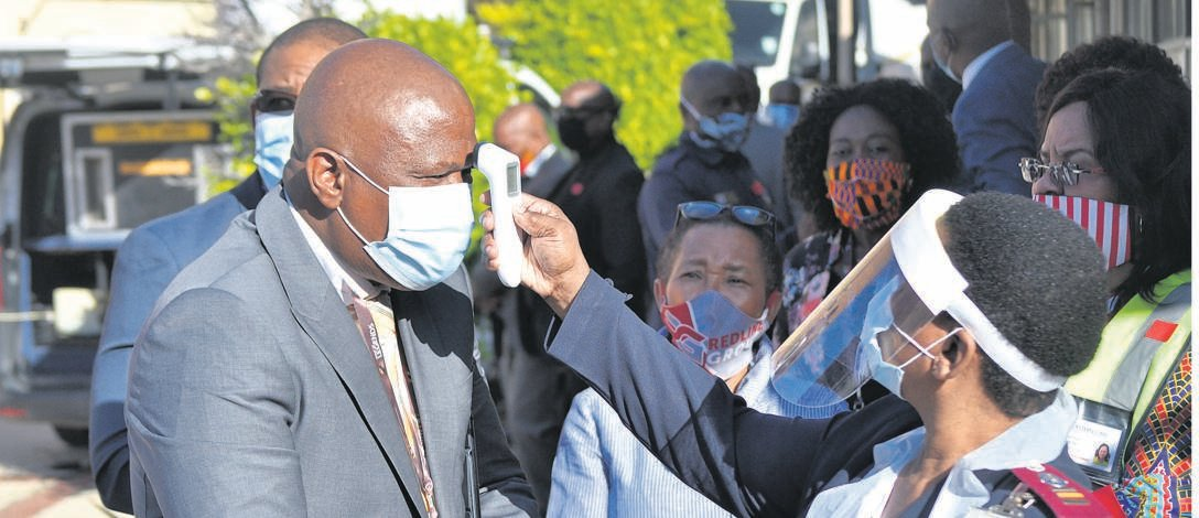 Eastern Cape Premier Oscar Mabuyane has his temperature tested.