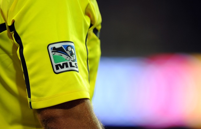 MLS logo on the shirt of an assistant referee | Location: Harrison, United States of America.  (Photo by AMA/Corbis via Getty Images)