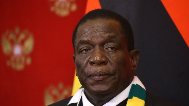 President of Zimbabwe Emmerson Mnangagwa is during a Russian-Zimbabwean meeting at the Kremlin, in Moscow, in January 2019 (Mikhail Svetlov/Getty Images)