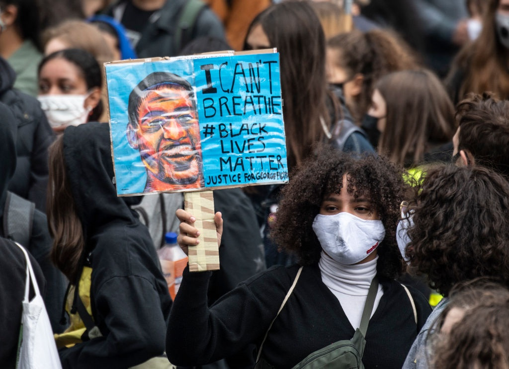 Participants of a Black Lives Matter demonstration walk through the city centre to the Römerberg in Frankfurt, Germany. Picture: Boris Roessler/picture alliance via Getty Images