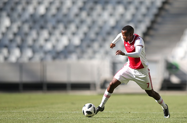 Thabo Mosadi of Ajax Cape Town on the attack during the GladAfrica Championship match between Ajax Cape Town and TS Sporting at Cape Town Stadium on January 15, 2020 in Cape Town, South Africa.