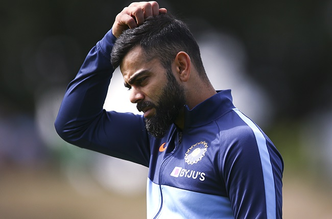 Virat Kohli looks on during day two of the first Test between New Zealand and India at Basin Reserve on 22 February 2020 in Wellington.