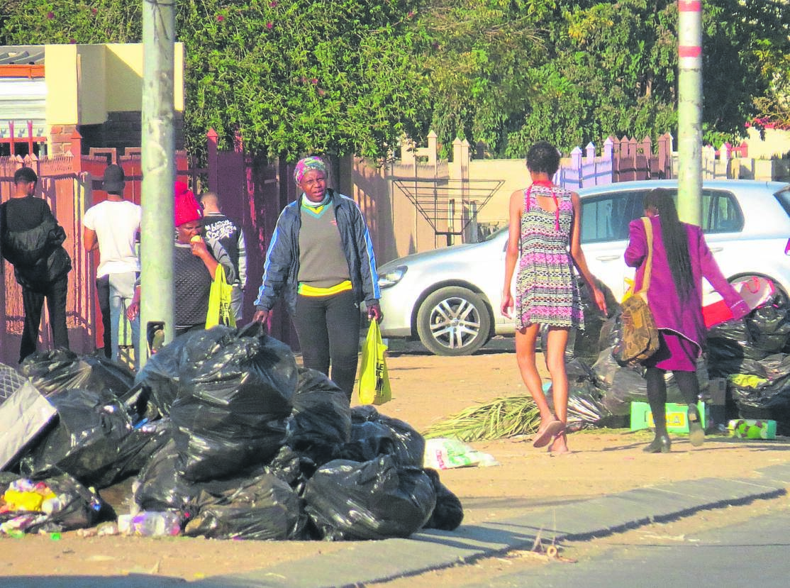 Refuse bags waiting to be collected in the Mangaung Metro Municipality.
