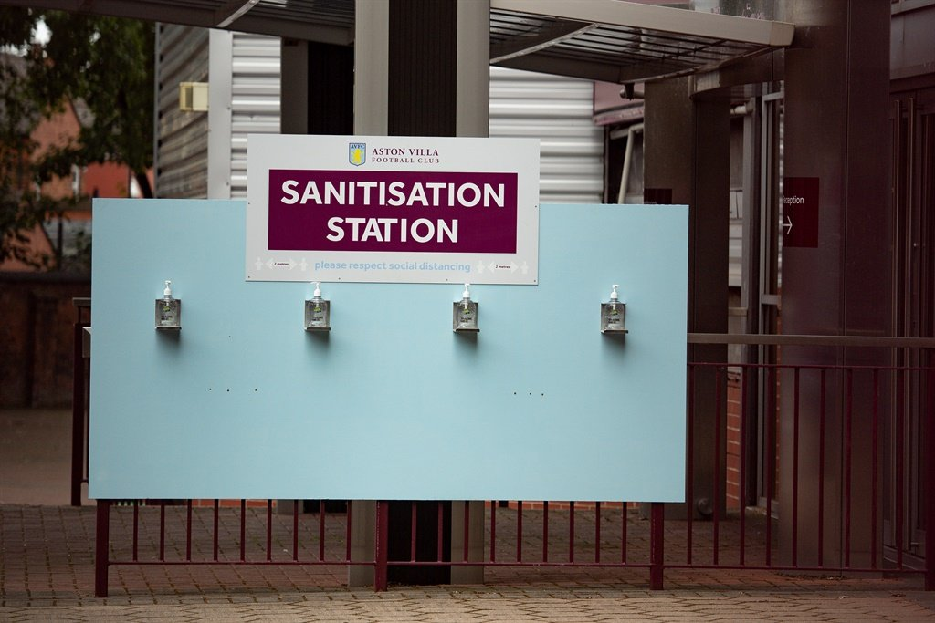 A sanitisation station at Villa Park, Birmingham, before the Premier League restart which starts with Aston Villa v Sheffield United on Wednesday evening. Picture:  Jacob King/PA Images via Getty Images