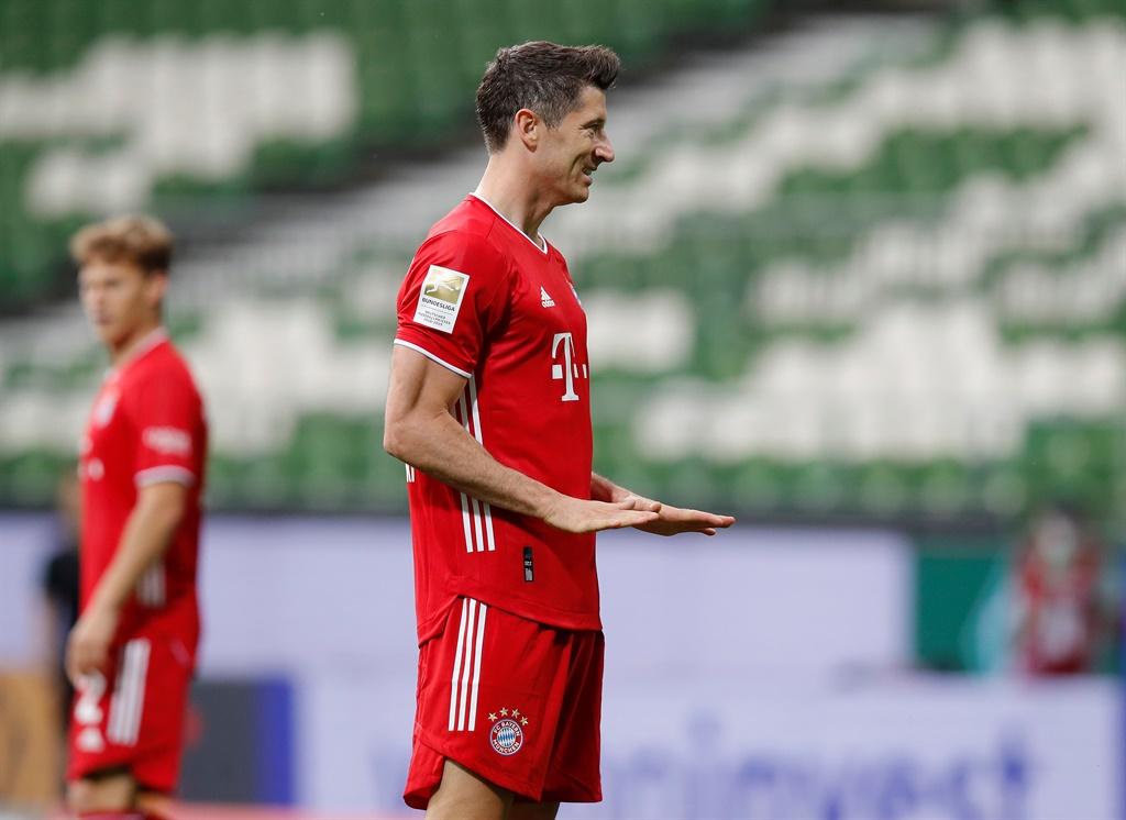 Robert Lewandowski of FC Bayern Muenchen gestures the Bundesliga match between SV Werder Bremen and FC Bayern Muenchen. Picture: M. Donato/FC Bayern via Getty Images