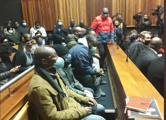 Seven men accused of defrauding VBS Mutual Bank appeared in the Palm Ridge Regional Court.