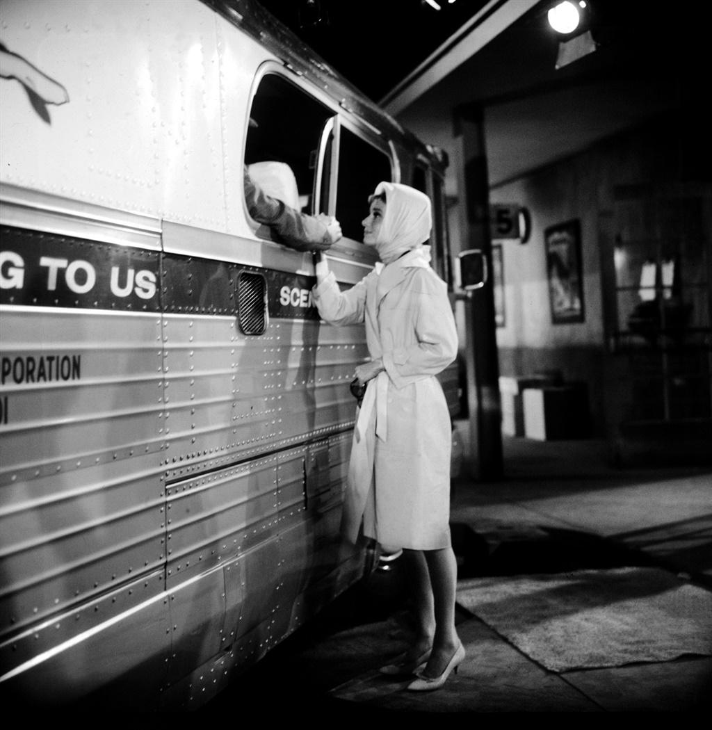 British actress Audrey Hepburn on the set of Break