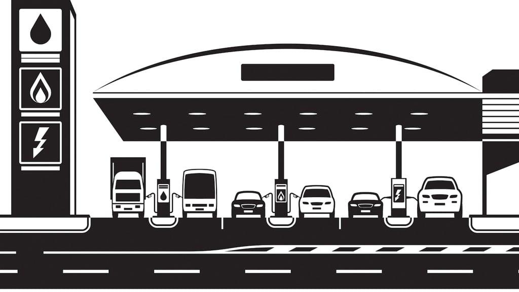 Petrol LPG and charging station with cars â??Ã?ì