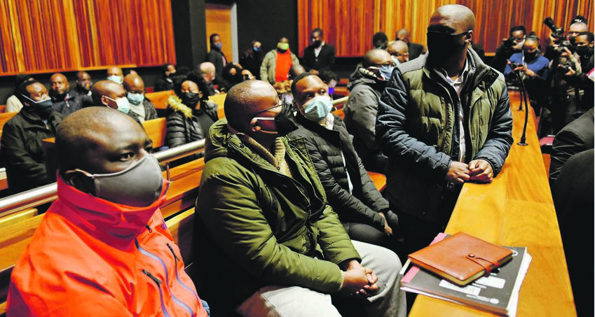 Seven of eight VBS suspects appeared in the Palm Ridge Magistrates' Court on counts of corruption, racketeering, fraud and money laundering. Picture: Tebogo Letsie/City Press