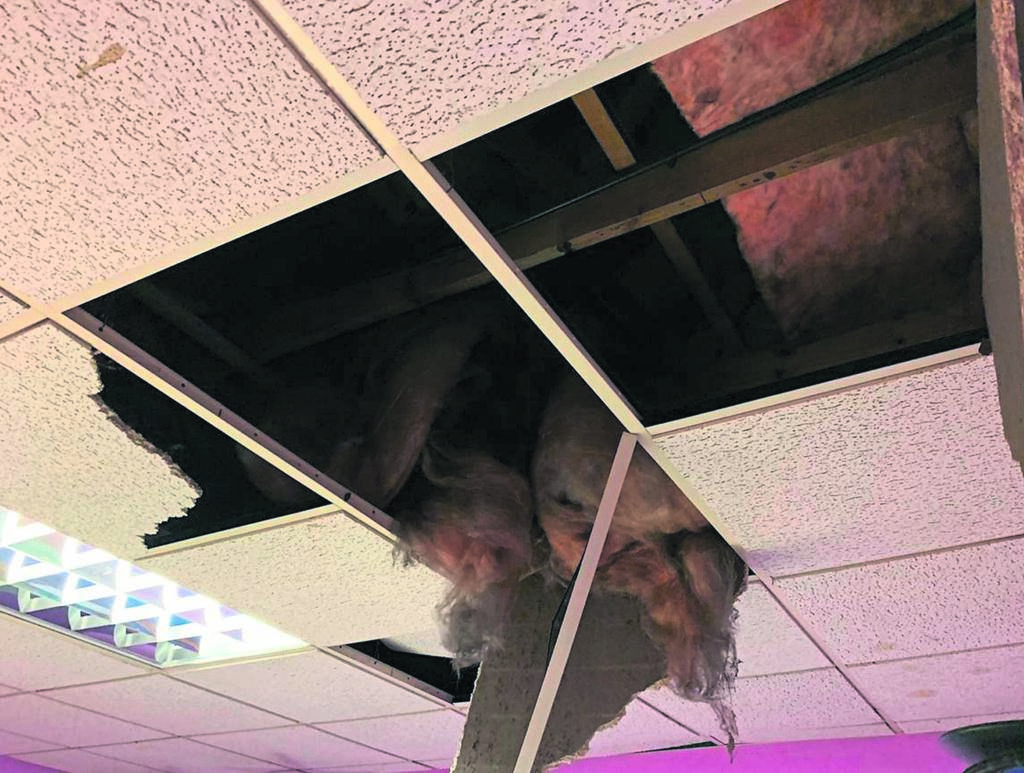 The damage caused to ceiling boards at the Athlone library. Burglars gained access to the library by breaking through the roof and the ceiling. They proceeded to steal the facility's geyser.