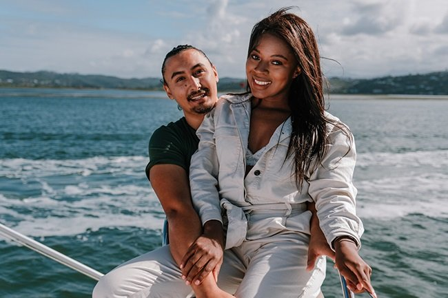 Precious Khumalo and Grant Manuel from Temptation Island South Africa. (Photo: Showmax)