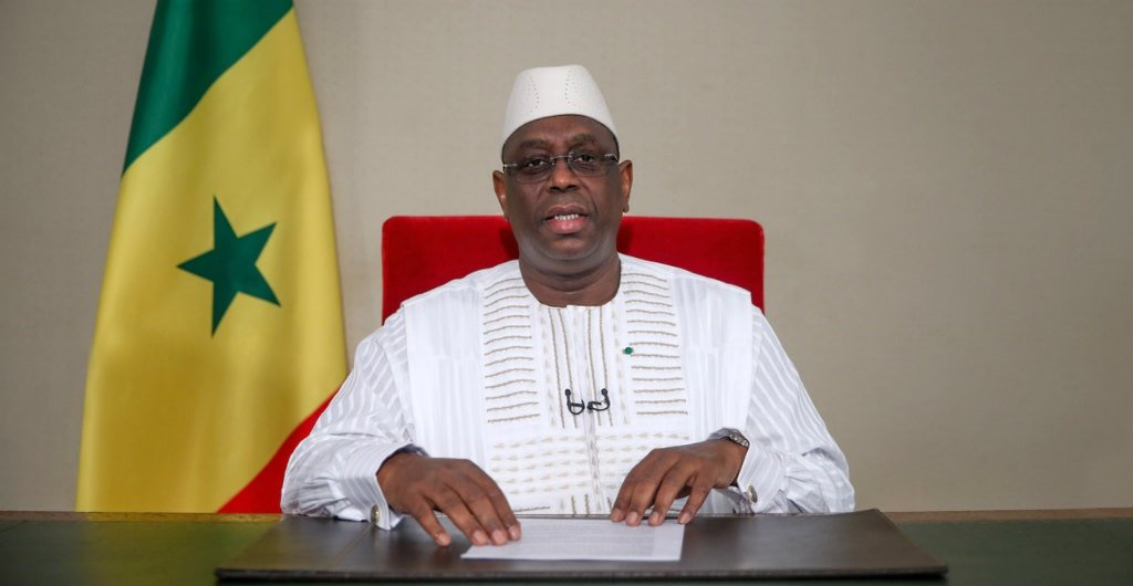 Senegalese President Macky Sall announcing a softening of state emergency measures taken to curb the spread of Covid-19 during an address to the nation from the Presidential Palace in Dakar on May 11, 2020.