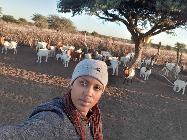 Neo Leburu feels at home on her goat farm in Ganyesa in Vryburg in North West. Pictures: Facebook