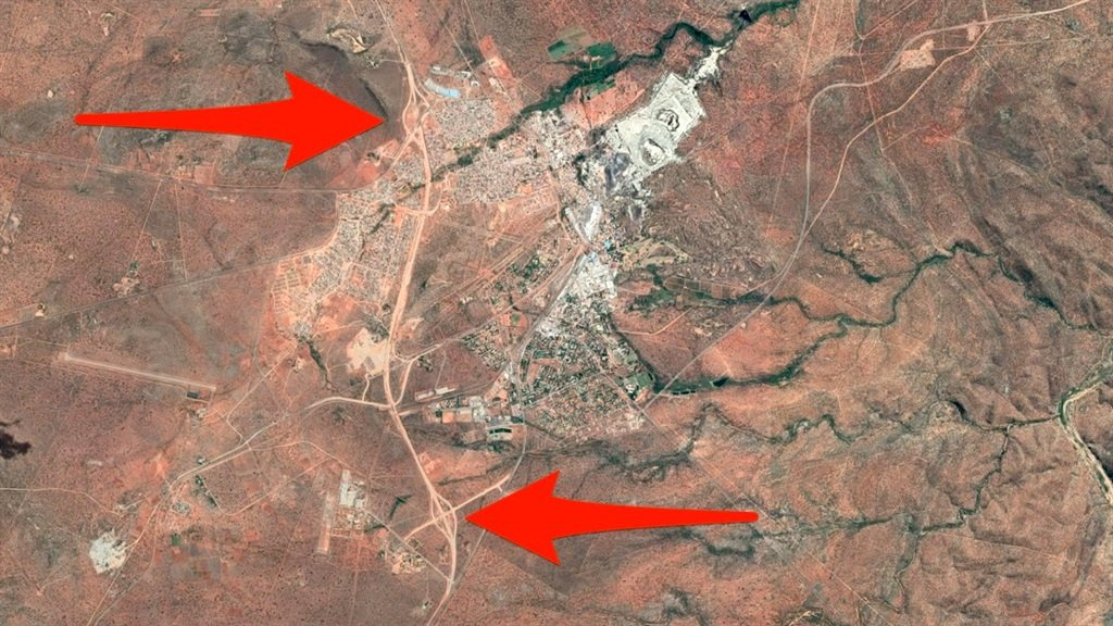 Satellite view of the the N1 Musina bypass works.
