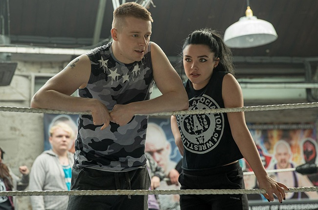 Jack Lowden and Florence Pugh in a scene from 'Fighting with My Family'.