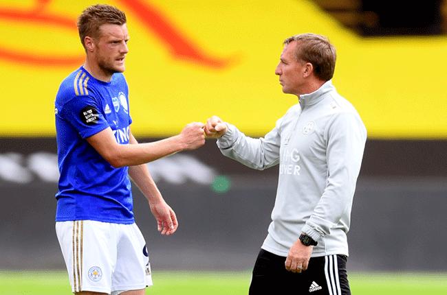 Jamie Vardy and Brendan Rodgers
