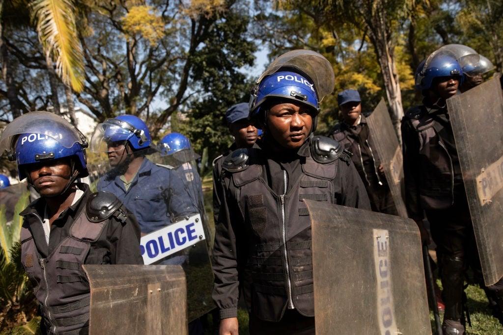 Members of the Zimbabwean police service.