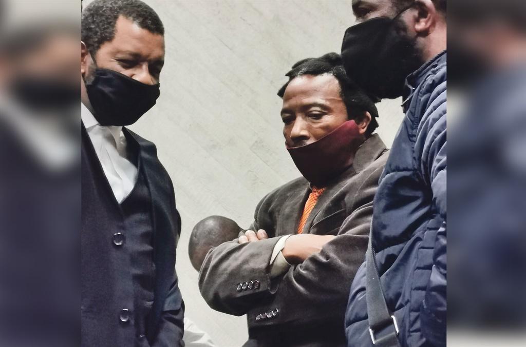 Dali Mpofu talks to King Buyelekhaya Dalindyebo during the court proceedings this week. Picture: Lubabalo Ngcukana