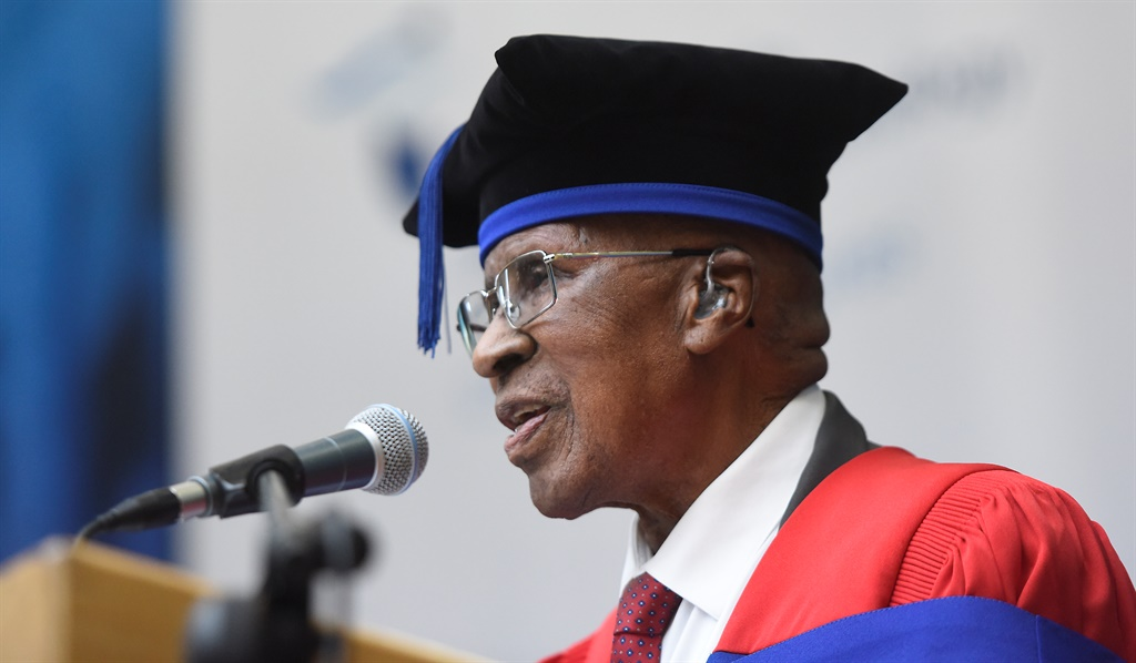 Freedom fighter Andrew Mlangeni is honoured at the Cape Peninsula University of Technology (CPUT) during a graduation ceremony on April 11, 2019 in Bellville, South Africa. Picture: Gallo Images/Brenton Geach