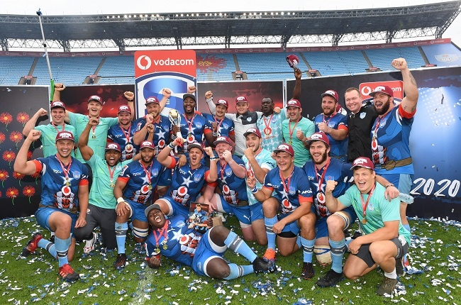 The Bulls players celebrate after their Super Rugby Unlocked match against the Pumas (Gallo Images)