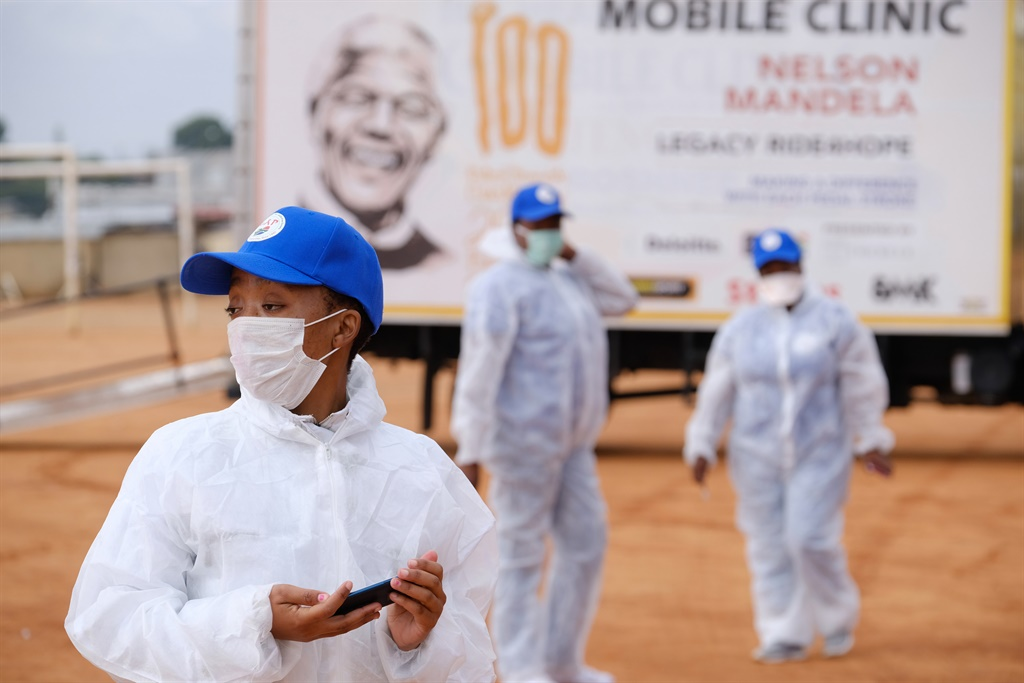 Health workers during intensified testing and screening in Alexandra, South Africa. Picture: Dino Lloyd/Gallo Images via Getty Images