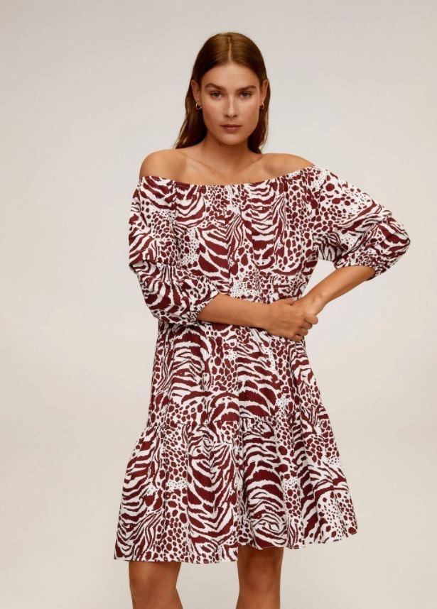 Mango Printed off-shoulder dress