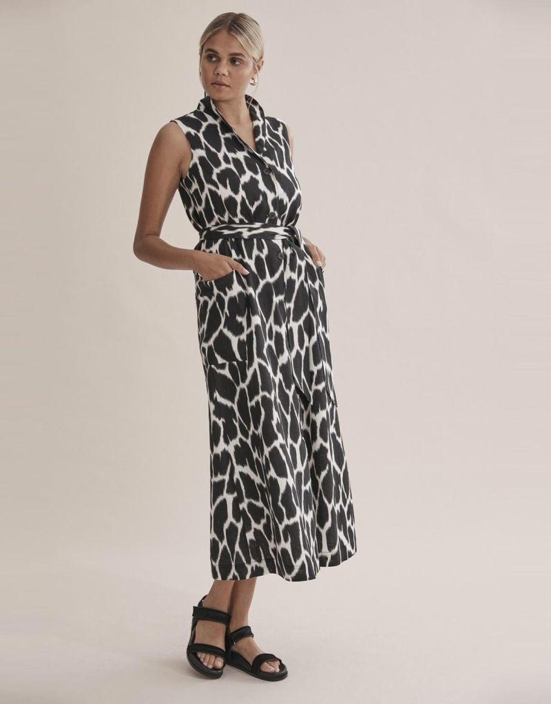 Print-Linen-Button-Maxi-Dress
