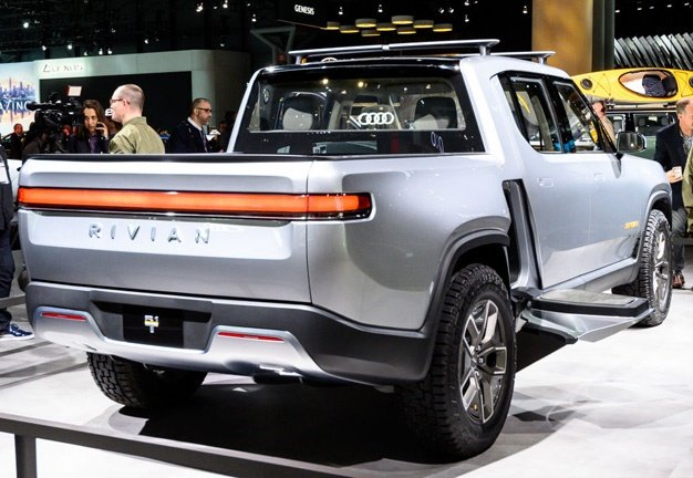 Rivian R1T seen at the New York International Auto Show in April 2019.