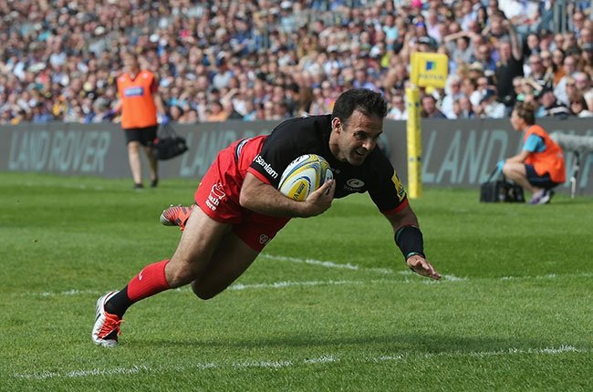 Neil de Kock scores a try for Saracens in 2016. (Photo by Alex Morton/Getty Images)