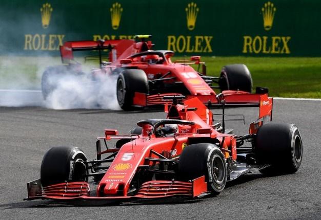 Sebastian Vettel leads Charles Leclerc of Monaco driving the (16) Scuderia Ferrari SF1000 locking a wheel under braking during the F1 Grand Prix of Belgium. Image: Clive Mason / Getty