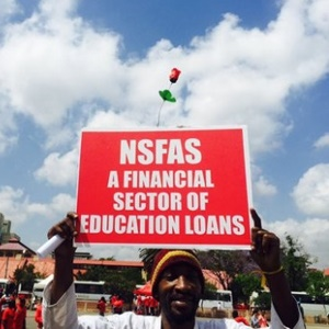A protester holds up a placard indicating his opinion on NSFAS during an EFF march in Johannesburg. (EWN, Twitter)