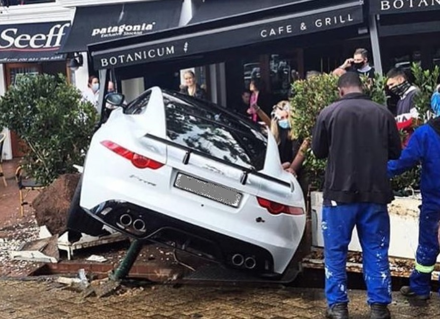 SEE | Jaguar sports car crashes into Cape Town cafe - News24