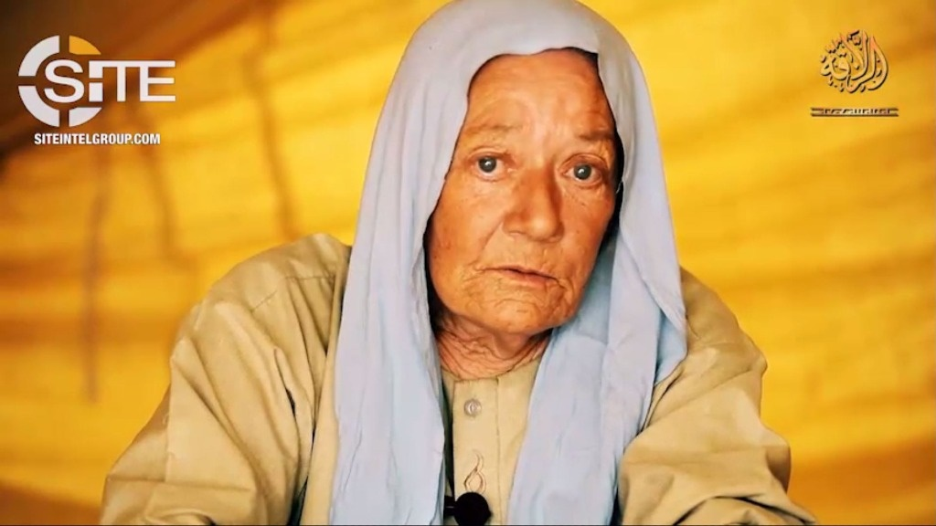 This video grab made on 13 June 2018 from an undated and unlocated video provided by the SITE Intelligence Group shows 75-year-old French national Sophie Petronin, a hostage held by Al-Qaeda's Mali branch after she was kidnapped in Gao, Northern Mali, on December 24, 2016.