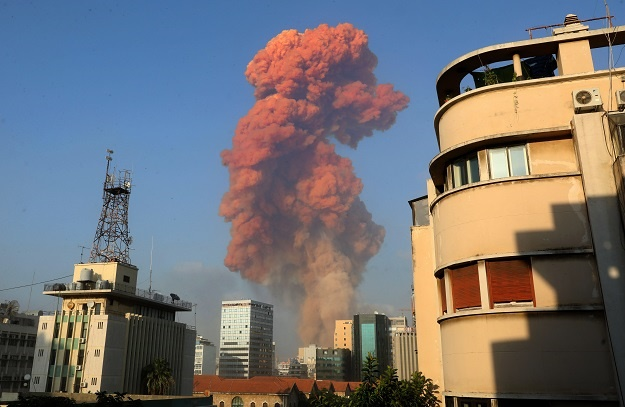 A picture shows the scene of an explosion in Beiru