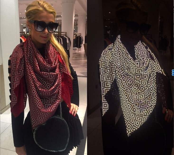 Paris Hilton seen wearing an Ishu scarf, in the second image, the photo was taken using a flashlight. Image supplied by Ishu