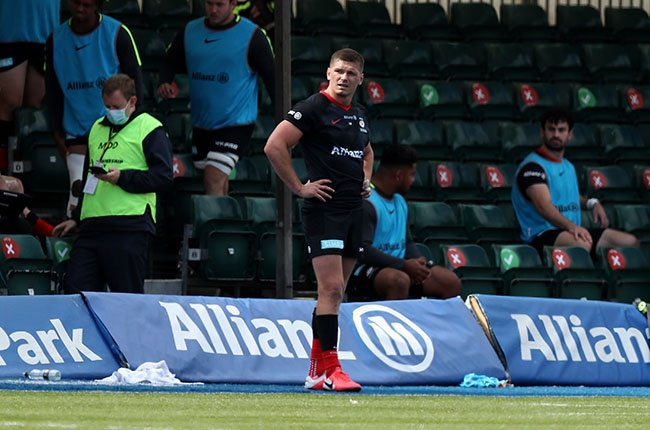 Saracens' Owen Farrell looks dejected after being sent off during the Premiership Rugby match against Wasps at Allianz Park on 5 September 2020.