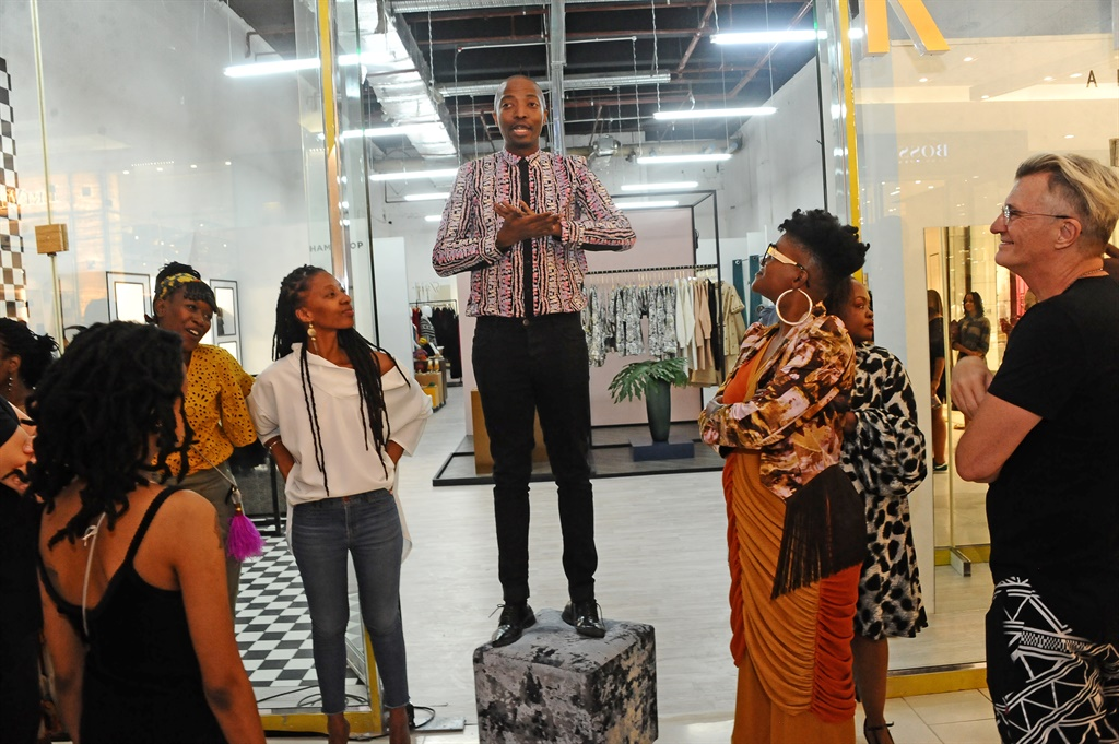 Thula Sindi  during the launch of the AfricaRise Retail Concept Store at the Sandton City mall. The store is a joint retail initiative that gives local entrepreneurs retail space to market their designs. (Photo by Oupa Bopape/Gallo Images via Getty Images)