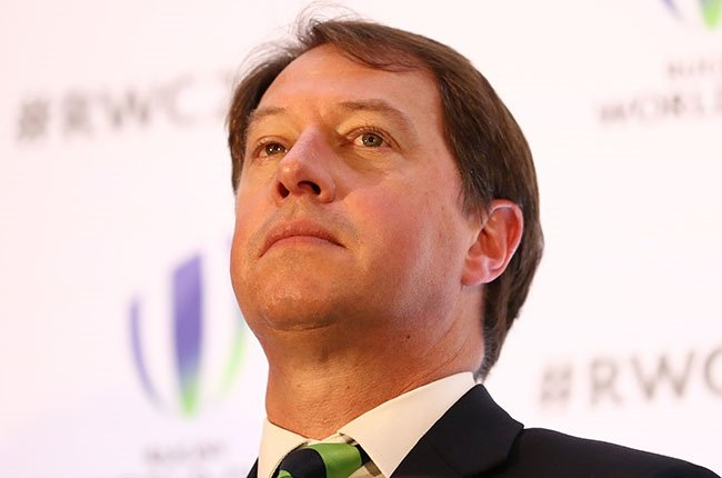 SA Rugby CEO Jurie Roux talks to the media after France was announced as the host nation for the 2023 Rugby World Cup at Royal Garden Hotel in London on 15 November 2017 (Photo by Bryn Lennon/Getty Images)