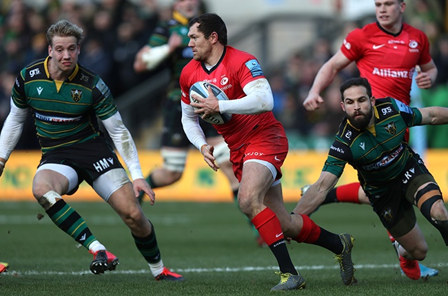 Alex Goode in action for Saracens against Northampton Saints on 29 February 2020.