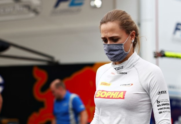 Sophia Floersch of Germany and Campos Racing walks in the Paddock during previews for the Formula 3 Championship at Red Bull Ring. (Photo by Joe Portlock - Formula 1/Formula 1 via Getty Images
