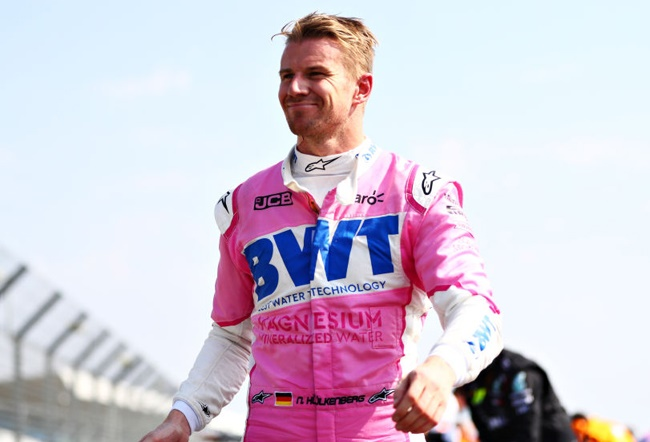 Nico Hulkenberg smiles at parc ferme during the F1 70th Anniversary Grand Prix at Silverstone on August 09, 2020 in Northampton, England. (Photo by Dan Istitene - Formula 1/Formula 1 via Getty Images)