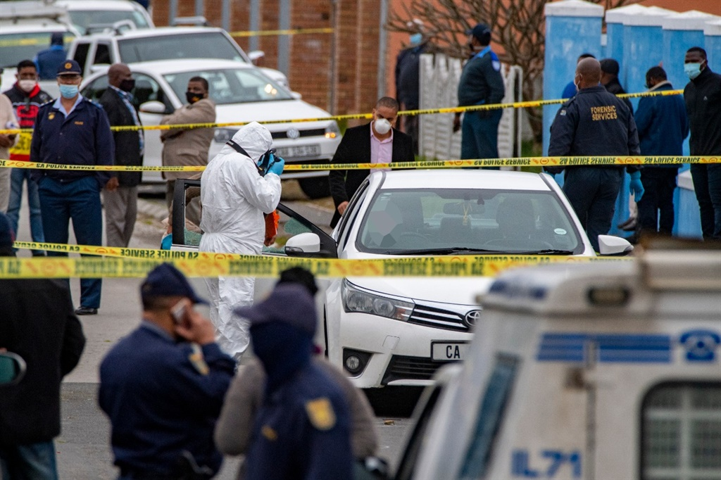 The crime scene in Bishop Lavis after Cape Town detective, Lieutenant Colonel Charl Kinnear, was shot and killed.