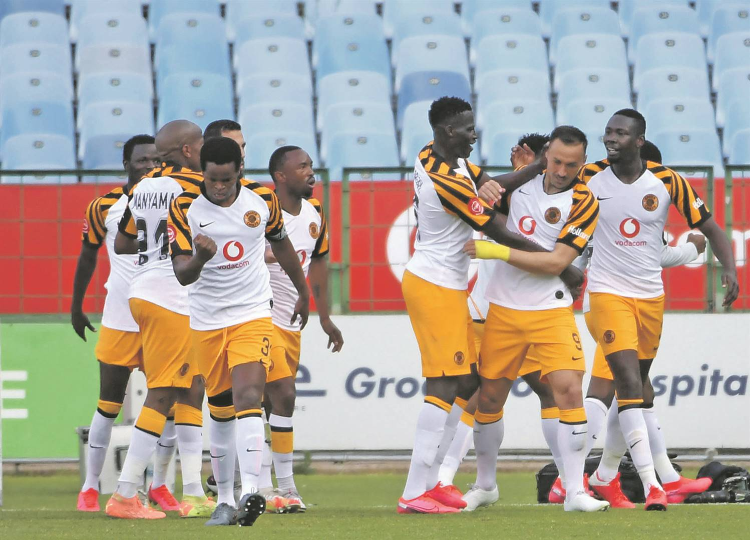 Kaizer Chiefs players celebrate their remarkable come-from-behind win over Polokwane City in their Absa Premiership game at Loftus Versfeld in Pretoria yesterday.