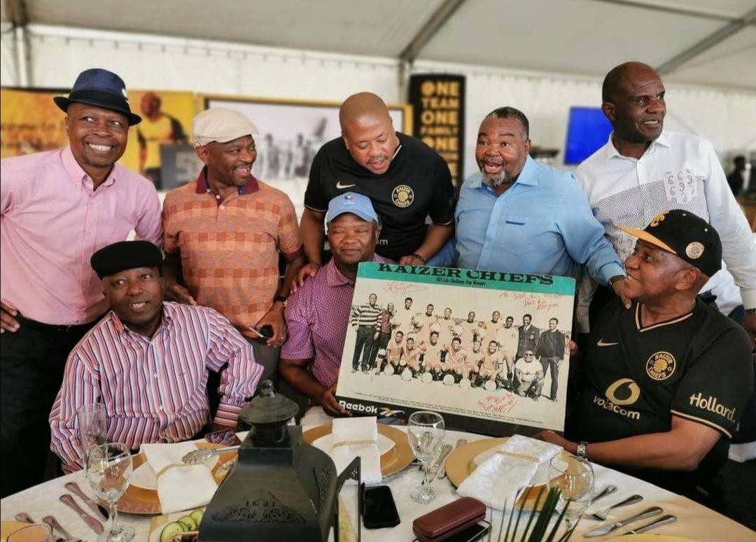 S'busiso Mseleku with Kaizer Chiefs boss Kaizer Motaung during the club's 50th anniversary celebrations in Phefeni, Soweto, in January, Picture: Themba Tshabalala / Twitter
