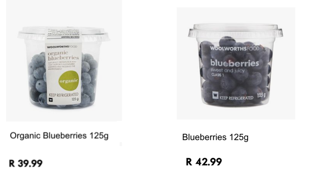 Woolworths organic blueberries: cheaper than non-o