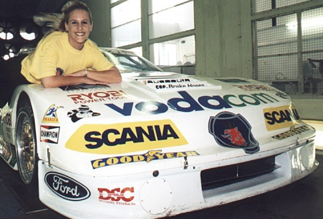 Jeanette Kok-Kritzinge with the Ford Mustang she used to set the SA Women's Land Speed Record in 1999. Image: Ford SA