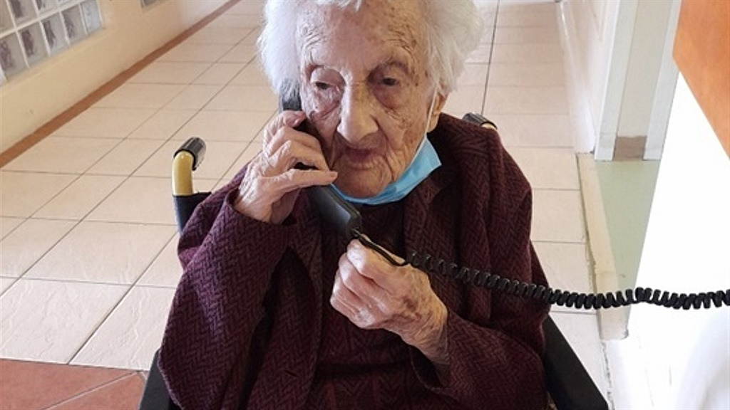 Rosalie Wolpe takes a birthday call.
