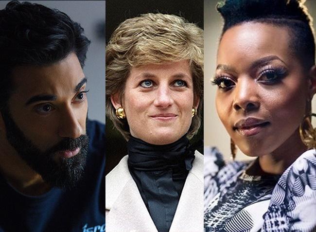 Ray Panthaki, Princess Diana, and Nomcebo Zikode. (Photos: Netflix/Getty/Supplied)